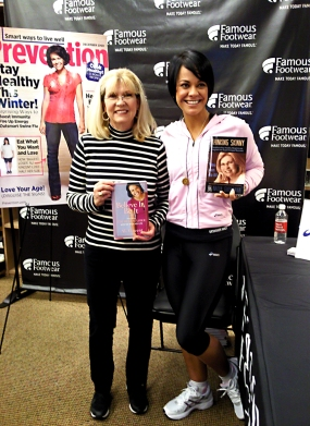 Nadia Giordana standing with Ali Vincent, first female Biggest Loser winner.
