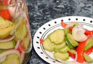 Cucumber and Red Bell Pepper Refrigerator Salad