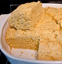 cornbread with piece cut out